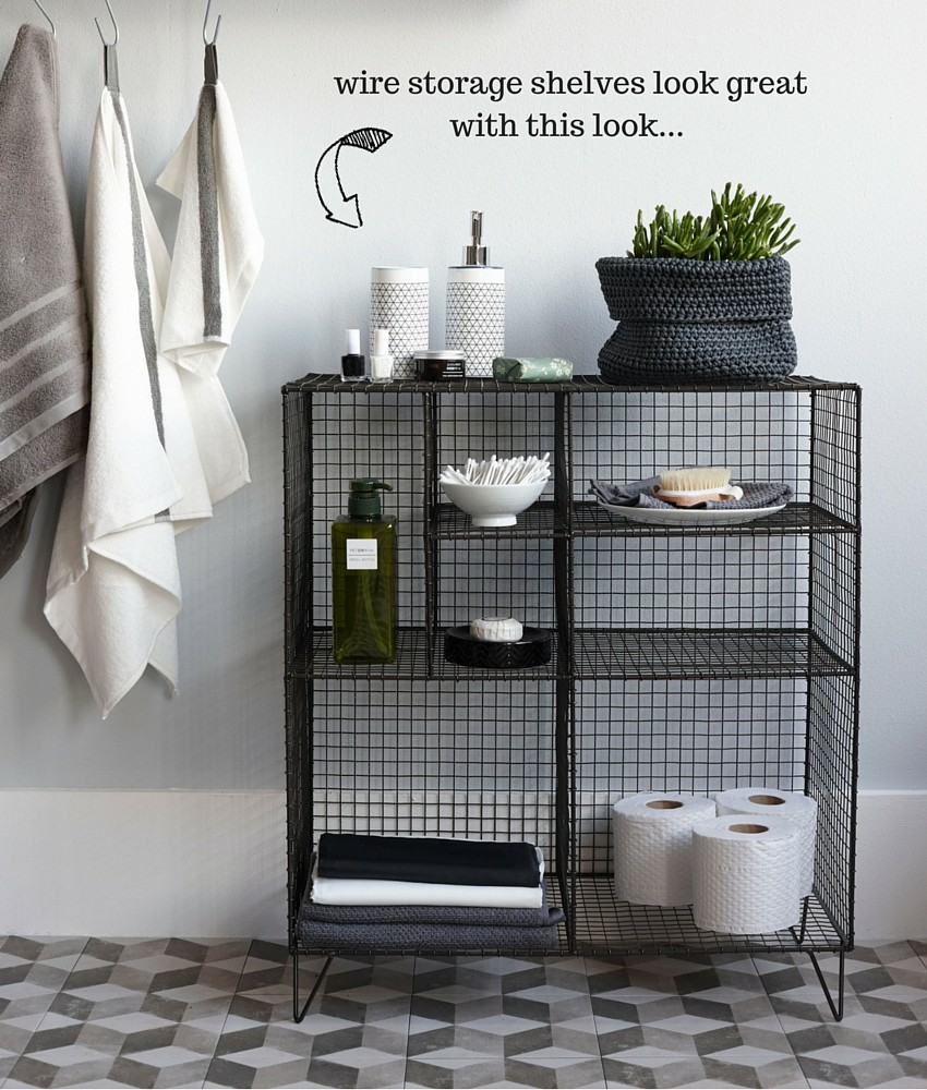 Monochrome bathrooms with patterned tiles and galvanised wire storage, styled by Pippa Jameson