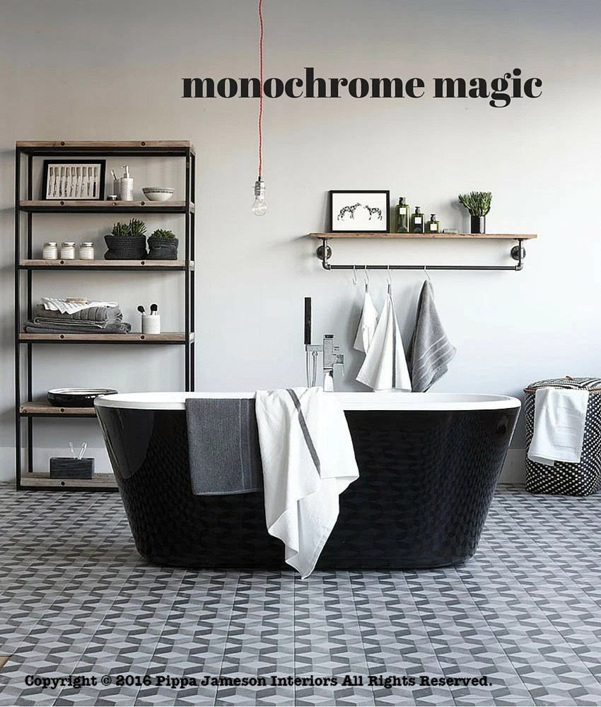 Monochrome bathrooms with patterned tiles, styled by Pippa Jameson